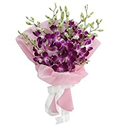 Flower Co Hand Bunch Bouquet (Purple White)