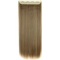 """26"""" Extensions Cheveux Clips Monobande - Extension a Clip 66CM(26 pouces) - Marron foncé/Blond cendré"""