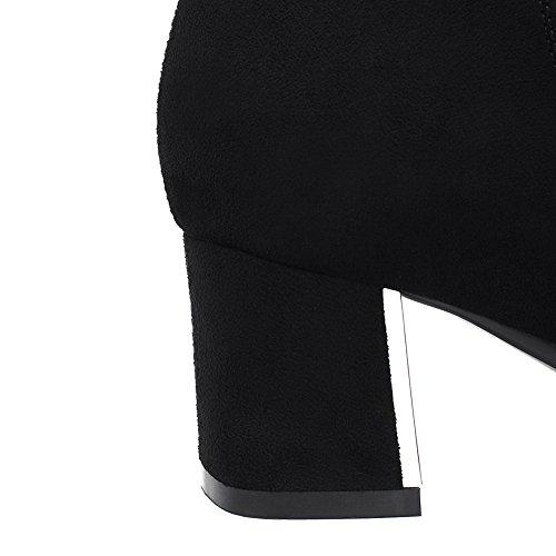 VogueZone009 Femme Couleur Unie à Talon Correct Rond Suédé Zip Bottes Noir