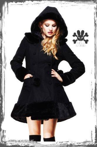 Nero Hell Bunny Sarah Jane invernale pelliccia giacca XS S M L XL 810121416 Black Large