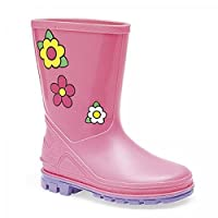 Girls Childrens Kids Infants Pink Wellington Wellies Boots Size UK 3 - 10 (3)