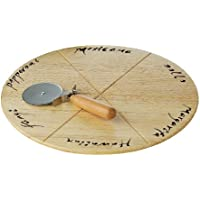 Premier Housewares Round Rubberwood Pizza Cutting Board with Pizza Cutter, 2 x 32 x 32 cm