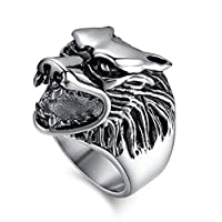 Ring Lion Face for Men, Silver, Size 8, RS036