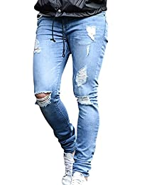 ShiFan Herren Ripped Enge Jeans Hose Stretch Leichte Jeanshose mit Löchern f95bd8a3c1