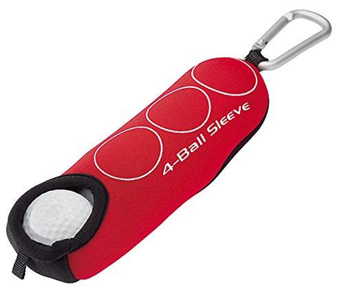 Deluxe Golfball-Tasche für 4 Golfbälle | mit praktischem Karabiner zum Anhängen an das Golfbag oder Gürtelschlaufe | Golfgeschenk