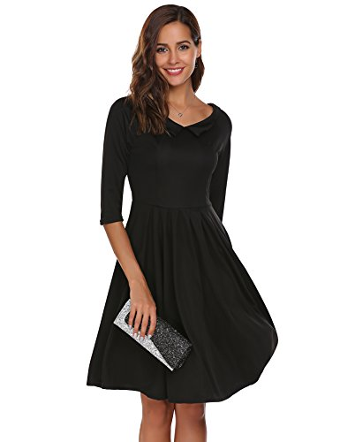 ACEVOG Damen Herbst VAusschnitt Vintage 50er Kleid Cocktailkleid ...