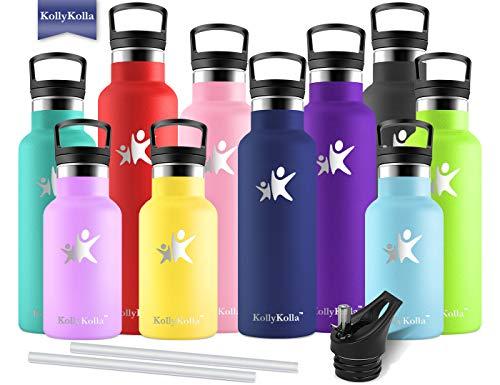 KollyKolla Vakuum-Isolierte Edelstahl Trinkflasche, 500ml BPA-frei Wasserflasche mit Filter, Thermosflasche für Kinder, Mädchen, Schule, Kindergarten, Sport, Wandern, Camping, Outdoor, Navy blau