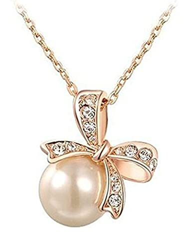 Gold Plated Necklace, Women's Pendant Necklace Bowknot Pearl Rose Gold Epinki