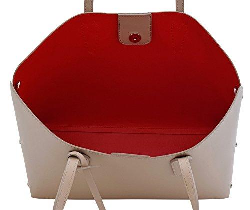 TAMARA Shopper Tasche Handtasche Damenhandtasche Echtes Leder Made in Italy Altrosa
