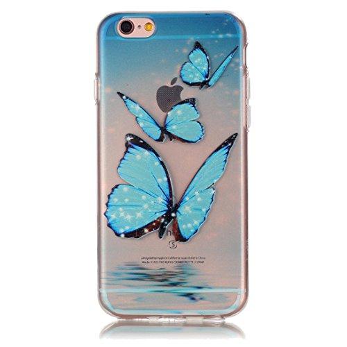Pheant®[4 in 1] Apple iPhone 6S Plus/ 6 Plus (5.5 pouces) Coque Gel Étui Housse de Protection Transparent Cas avec Verre Trempé Protecteur d'écran Stylet Bouchon Anti-poussière(Orchidée Bleu) Papillon Bleu