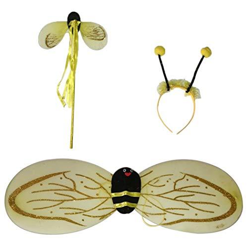 SeaStart 3 in 1 Bienenflügel mit Fühler Bienenkostüm Haarreif Fühler Flügel Fee Zubehör Karneval Damen-Kostüm