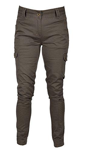 IWEA Damen Cargo Hose lang Jeans Hose Dark Khaki IW050 (Cargo-hose Khaki)