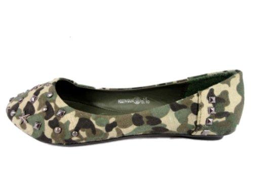 Neue Mädchen Fashion Leinwand Camouflage flach Ballerina Nieten Schuh Mehrfarbig