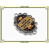 1 imán mamá en corazón dorado estrellas negras oro regalos personalizados navideños Amigos de Navidad Cumpleaños mamá ceremonia boda invitados día de la madre parejas