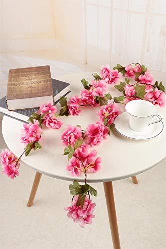 Homcomodar 2pc fiori di ciliegio in seta artificiale appesi ghirlanda di vite per decorazioni per feste in giardino per la casa di nozze(rosa scuro)