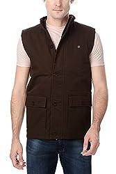 Peter England Mens Jacket (EOW51500504Ssleeveless_Mediumbrownwithbrown)
