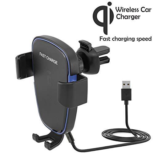 MidGard Wireless Lüftung Auto Halterung für Qi fähigen Smartphones, wie Apple iPhone XS, XR, X, 8 / Samsung Galaxy S9, S9 Plus, Note 8, S8, S8 Plus, S7 / LG G7, G6, G5 usw.