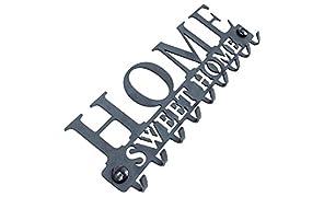 Stilemo Schlüsselbrett Zum ordentlichen Aufhängen - Sparen Sie Zeit mit der Schlüsselleiste Home Sweet Home - Hakenleiste Schlüssel Wand in Edlem Schwarz - Kleiderhaken - 9 Haken - 25 x 8.5 cm