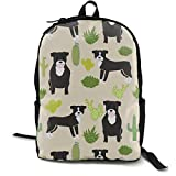 Black Pitbull Fabric Dogs and Cactus Design Cute Pitty Fabric - Sand Adult Premium Travel Backpack, Water-Resistant College School Bookbag, Sport Daypack, Outdoor Rucksack, Laptop Bag for Men&Women