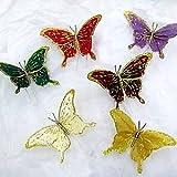 Au Plaisir de los ojos–mariposa pluma en tija 15cm: decoración Boda (lote de 12)