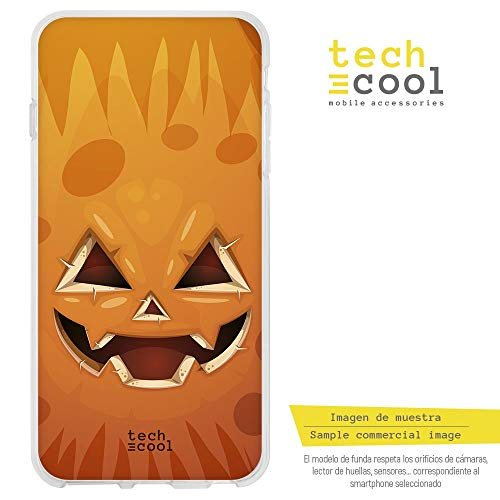 Funnytech Samsung Galaxy J4 Plus Hülle SchutzHülle Soft TPU Silikon Transparent für Samsung Galaxy J4 Plus l Case, Cover, Handy, High Definition Druck [Cara calabaza Naranja Halloween]