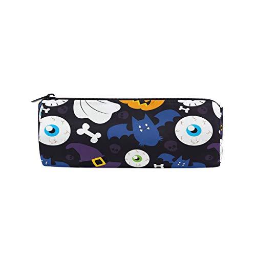 (Bonipe Federmäppchen mit Halloween-Hintergrund, Kürbis und Totenkopf-Motiv, für Schule, Schreibwaren, Stiftebox, Reißverschluss)