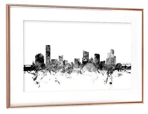 artboxONE Poster mit Rahmen Kupfer 75x50 cm Grand Rapids Michigan Skyline von Michael Tompsett - gerahmtes Poster (Michigan Kupfer)