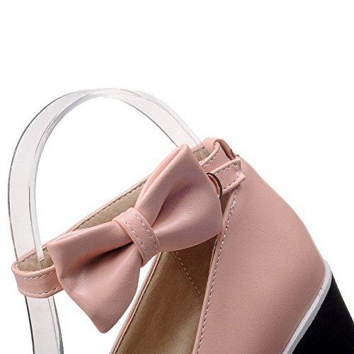VogueZone009 Femme Boucle à Talon Haut Pu Cuir Couleur Unie Rond Chaussures Légeres Rose