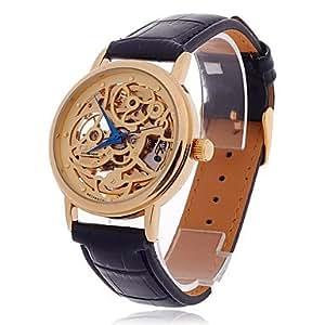 La montre-bracelet CJIABA High Grade hommes squelettiques analogiques recto verso automatique de - Noir + or + bleu