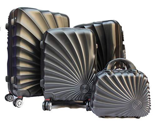 R.Leone Valigiada 1 pezzo Fino a Set 4 Trolley Rigido grande, medio, bagaglio a mano e beauty case 4 ruote in ABS 2092 (Nero, Set XS S M L)