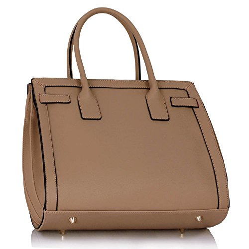 LeahWard® Große Größe Damen Tragetaschen Handtaschen Groß Qualität Schule Tasche A4 325 nackt/Rosa