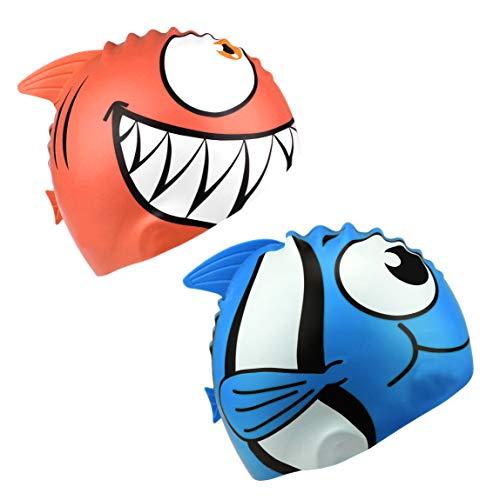 HOGAR AMO 2er Set Kinder Badekappe Haifisch/Niedlicher Fisch Bademütze Schwimmkappe Silikon Swimming Cap für Mädchen Jungen