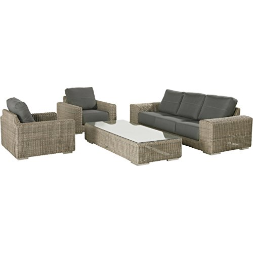 4Seasons Outdoor Kingston 4-teilige Loungegruppe mit Tisch Polyrattan Pure