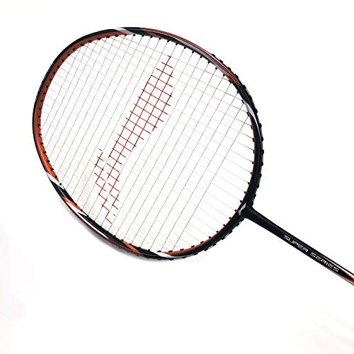 8. Li-Ning SS-20 G4 Carbon-Graphite Badminton Racquet (Black/Orange) with String & Bag