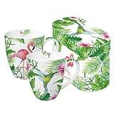 PPD 603266, Set da 2 tazze Mug con manico - porcellana decorata - motivo: Fenicotteri Tropicali