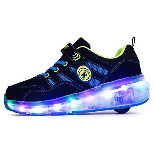 Recollect LED Rollschuh Schuhe Kinder LED Lichter Blinken Einstellbare Räder Technologie Skateboardschuhe Gymnastik Running Turnschuhe für Jungen Mädchen,Blue,30EU
