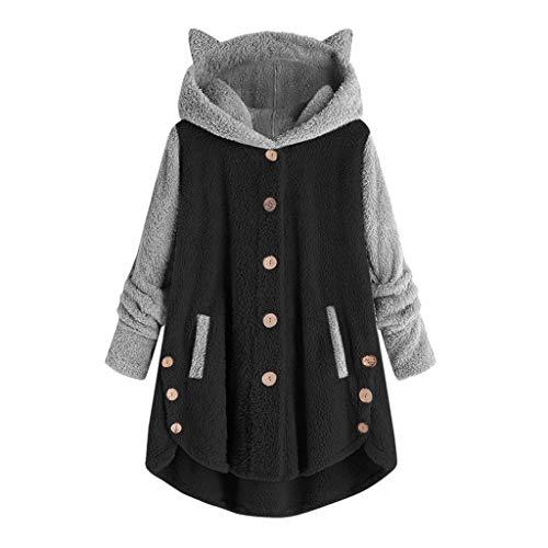 Kolila Damen Hoodies Mantel Lässige Flauschige Fleecejacke Oberbekleidung Katzenohr Kapuzenpullover Knöpfen Strickjacke/Jumper Oberteile