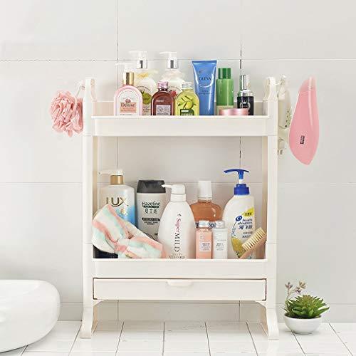 YAN Bad Stehregal mit Schubladen - Kitchen Slim Mobile Shelving Unit Organizer - Für Enge Räume Bad & Küche - Weiß -