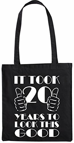 Mister Merchandise Tote Bag It took 20 Years to look this Good Borsa Bagaglio , Colore: Nero Nero