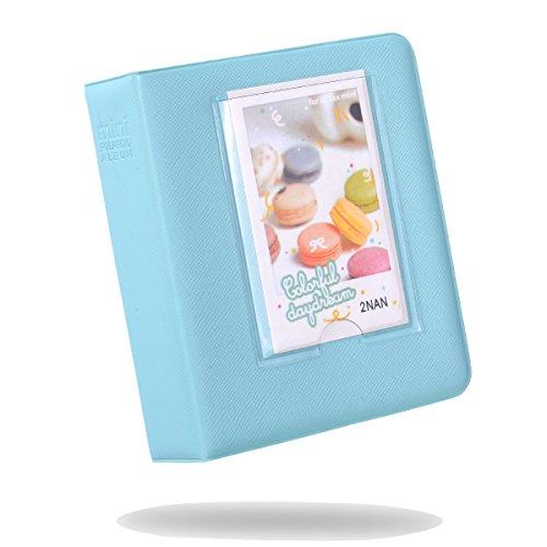 Kaka Mini-Fotoalbum für Fujifilm Instax Mini 9,8,8+, 7S, 25,26,50S, 70,90Sofortbildkamera, mit Namensschild, für 64 Fotos eisblau