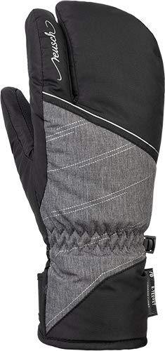 Reusch Damen Brianna R-TEX XT Lobster Handschuh, Black/Grey Melange/Silver, 7.5