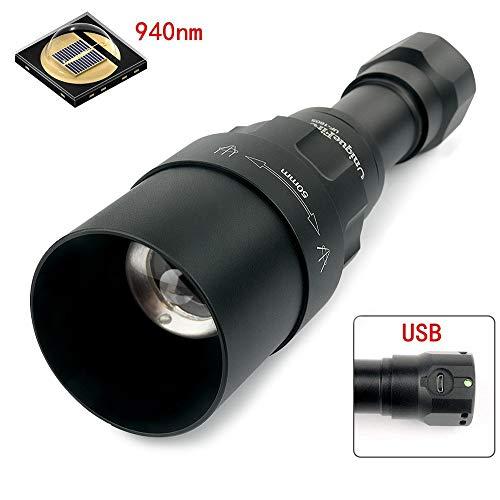 UniqueFire uf1605IR 850nm oder 940nm Infrarot-Licht Nachtsicht Taschenlampe wiederaufladbar Einstellbarer Fokus zoombaren Taschenlampe Set, 1605-940NM-50mm Torch