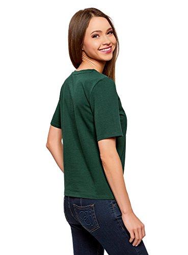 oodji Ultra Damen Baumwoll-T-Shirt mit Stickerei Grün (6919P)