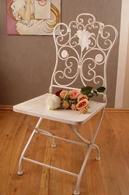 Romantisches Ambiente Eisen Stuhl Blumenornamente Weiss Palazzo Exclusiv von PALAZZO INT
