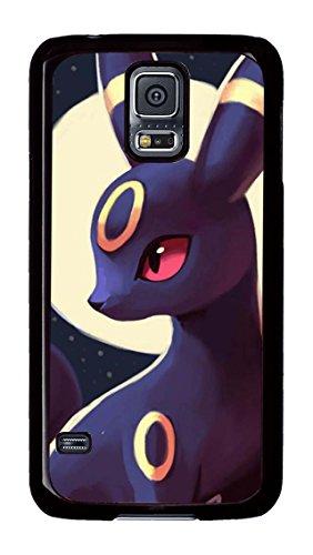 S5Coque, Galaxy S5Cas, Pokemon Noctali clair de lune sur mesure pour PC Noir Étui de protection Coque Pour Samsung Galaxy S5