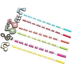 SunEast - Lápices de notas musicales con dibujos animados (6 unidades), color al azar