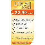 SimDiscount LTE All 10 GB · Flat alle Netze · EU-Roaming · Flat SMS · 10 GB Internet LTE · 1 Monat Laufzeit - monatlich kündbar · 10,- € Wechslerbonus · O2 Netz · nur 22,99 € / Monat