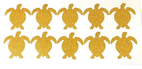 FizzyButton Gifts Bogen von 10 Gold Schildkröte Schildkröte Glitter Aufkleber für Partei oder Geburtstag