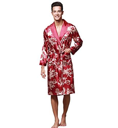 Preisvergleich Produktbild Surenow Herren Männer Satin Morgenmantel Schlafanzug Schlafkleid Nachtwäsche Kimono Bademantel,L Weinrot
