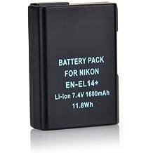 Pixtic–Batería de iones de litio de repuesto EN-EL14, un EN-EL14Batería para Nikon Coolpix P7000, P7100, P7200, P7700, P7800, DSLR D3100, D3200, D3300, D5100, D5200, D5300, Nikon Df | 1600mAh 7,4V Li-ion []